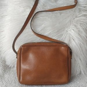 Salvatore Ferragamo Tan Cognac Leather Crossbody